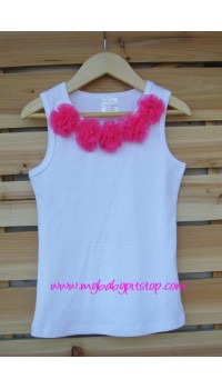 Cute Kids Tank Top Dark Rose Rosette (1Y, 3Y, 4Y, 5Y)
